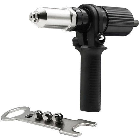 Pistolet a rivets electrique Adaptateur de pistolet a rivets a tirer pour perceuse electrique Machine a riveter a rivets et tete de pistolet a clous
