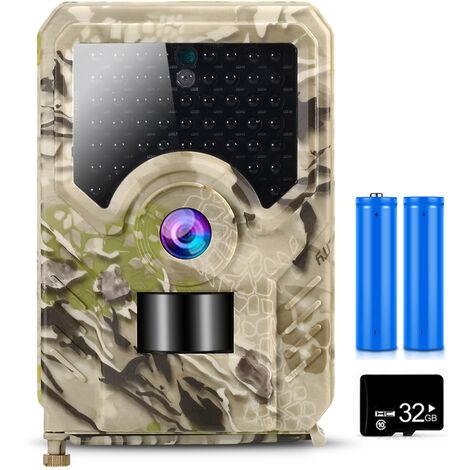Cam¨¦ra de chasse avec cam¨¦ra de chasse 12MP 1080P avec carte MicroSD de 32 Go Cam¨¦ra de surveillance de la faune ext¨¦rieure avec capteur PIR Vision nocturne infrarouge de 65 pieds