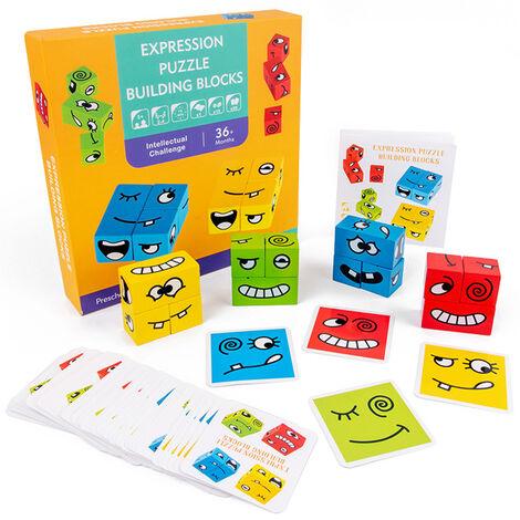 Blocs de construction Rubik's Cube a changement de visage Smiley Game Puzzle Aides pedagogiques