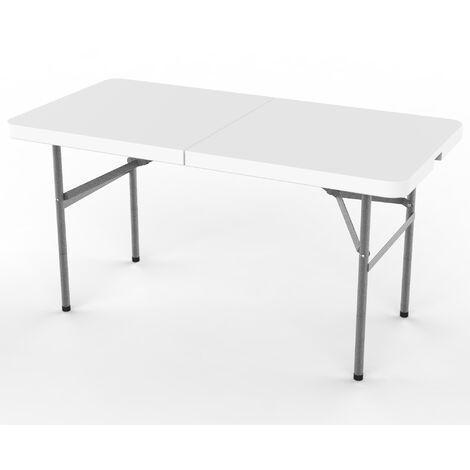 Table en Plastique Robuste, Table Pliante Transportable, 124 x 61 cm, Blanc, Pliable en deux, Matériau: HDPE