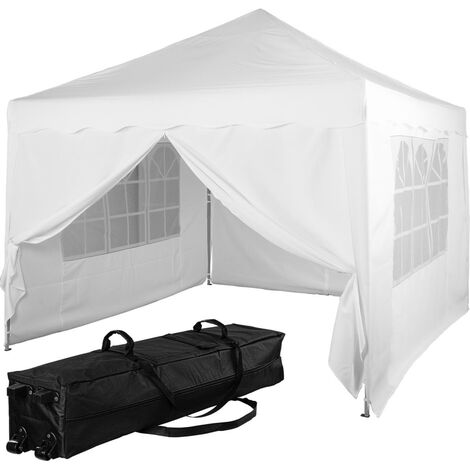 INSTENT® Tonnelle pliante + 4 panneaux, 3x3m acier > couleur blanc, avec sac de transport à roulettes