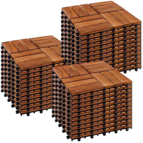 STILISTA® Lot de 33 dalles en bois d'acacia, modèle mosaïque