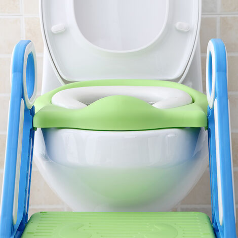 Foldable and adjustable child toilet seat, padded blue-green