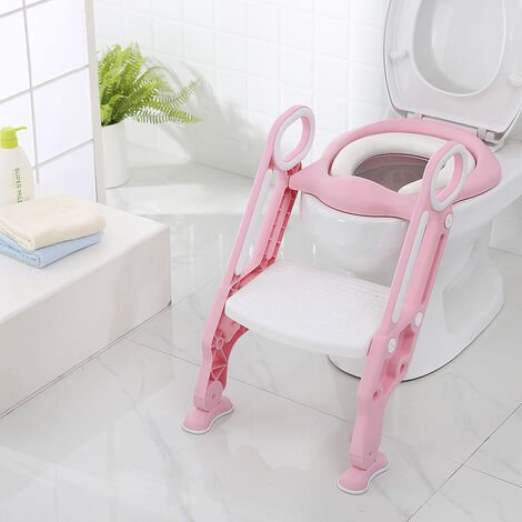 Foldable and adjustable children's toilet seat, padded white pink