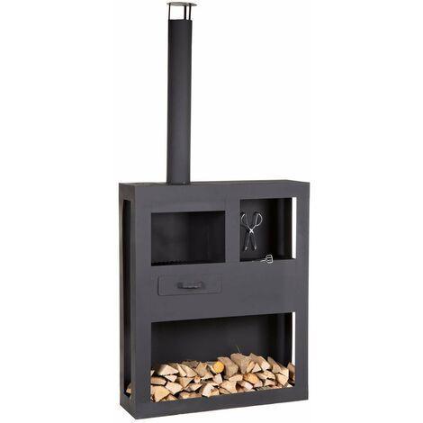 Mullrose moderner Gartenkamin Fireplace XXL, Stahl, schwarz, B120xT35xH250cm