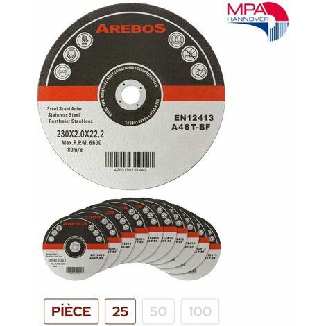 Arebos 100 disques fins à tronçonner l'acier inox Ø 230 mm