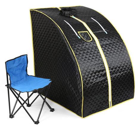 Sauna portátil negra, sauna de vapor plegable con SPA interior teledirigido