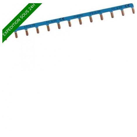 Barre de pontage 1P 63A languette 10mm² bleu 13M