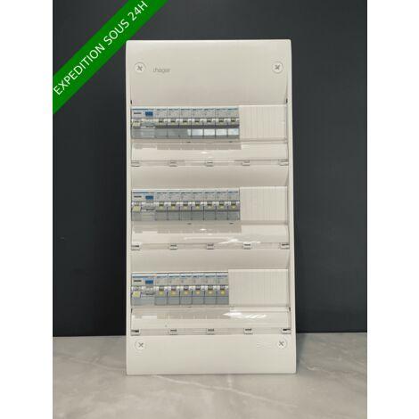 Tableau électrique hager 3 rangée équipé et pré-câblé 20 disjoncteurs