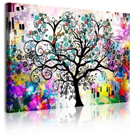 DekoArte - Cuadros Modernos Impresión de Imagen Artística Digitalizada | Lienzo Decorativo Para Tu Salón o Dormitorio | Estilo Abstracto Árbol de la Vida Gustav Klimt