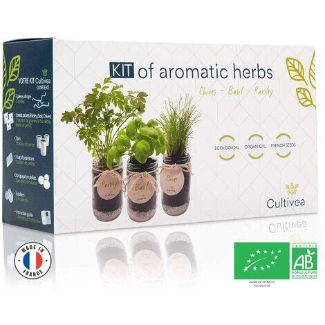 Cultivea– Kit d'Herbes Aromatiques – Graines FR 100% BIO – (3 variétés)