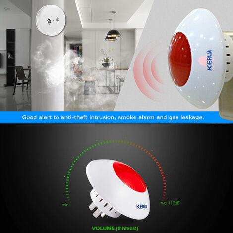 Alarma de sirena estroboscopica de sonido inalambrico KERUI, alarma de luz de destello de host