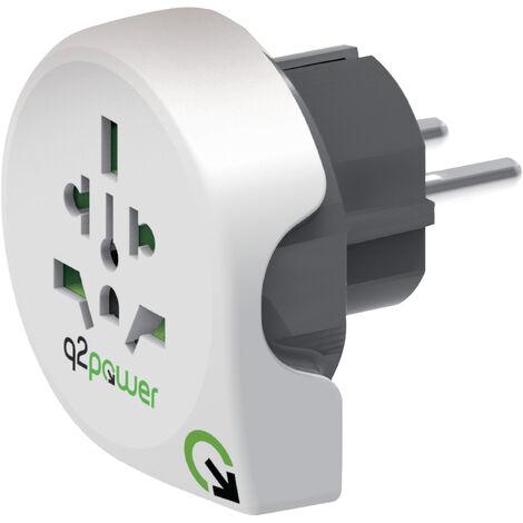 Q2 Power World to Europe Travel Adapter, ideale per utilizzare i dispositivi in Europa per i viaggiatori di tutto il mondo