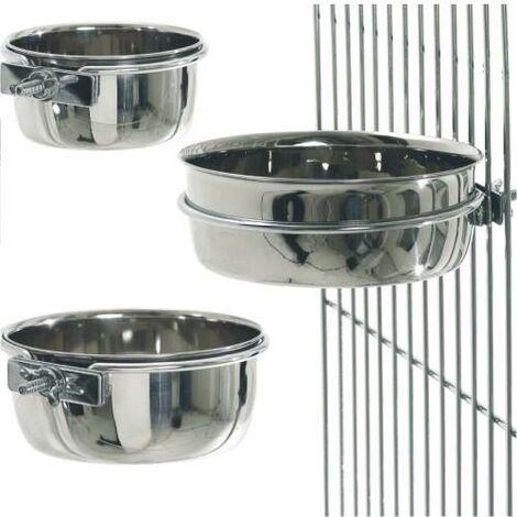 Contenitore in acciaio inox per animali domestici per gabbie disponibile in varie capacità
