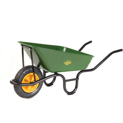 Lasher Builders Wheelbarrow With Black Frame & Pheumatic Wheel