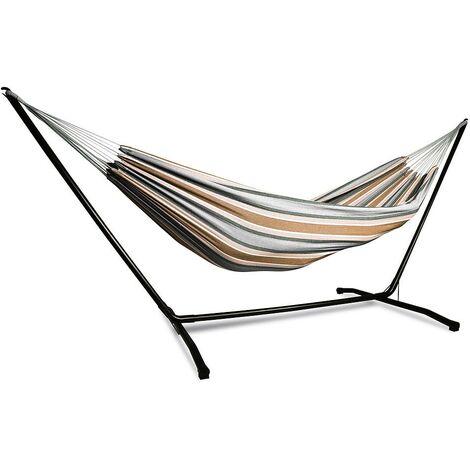 Hamac de jardin avec support en acier inoxydable pour 2 personnes avec une capacit de charge de 200 kg ideal pour le camping et la plage. Couleur Beige