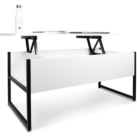 Table basse avec unité de rangement de style industriel table basse en acier et en bois moderne avec étagère relevable