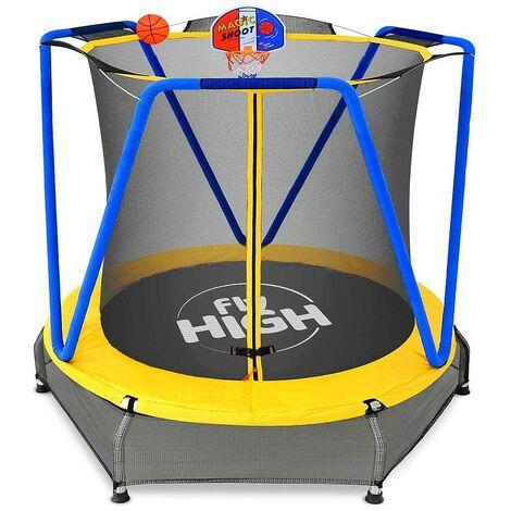 Jumpoo - Trampoline pour enfants de 170 cm avec filet de sécurité et rembourrage souple - Charge maximale 55 kg - Certifié CE/TUV/GS