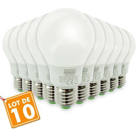 Lote de 10 bombillas LED E27 9W eq 60W 806lm