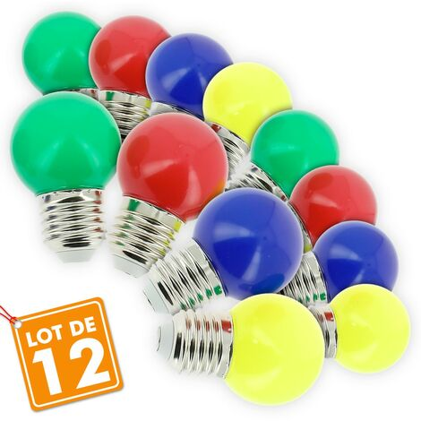 Lote de 12 guirnaldas de exterior de bombillas abigarradas E27