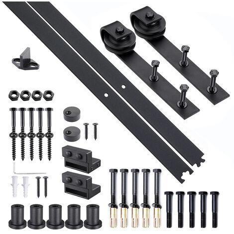 Homcom Kit Montaggio per Porte Scorrevoli con Binario e Accessori in Acciaio al Carbonio, 200x4x0.6cm