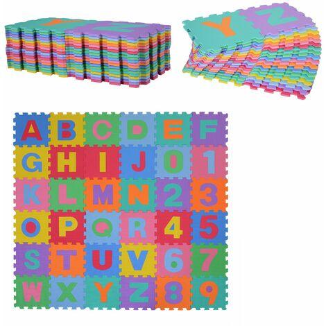 HomCom Tappeto Puzzle Gioco Bambini 36 Pezzi - 26 Lettere dell'Alfabeto e Numeri da 0-9