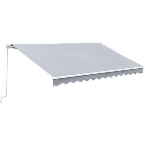 Outsunny Tenda da Sole Avvolgibile a Parete in Poliestere, Grigio, 365x250cm