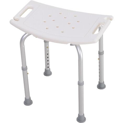 HomCom Sgabello sedile sedia per doccia bagno, antiscivolo, bianco, altezza regolabile