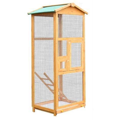 PawHut Gabbia per Uccelli Pappagallo Grande in Legno per Giardino 68x63x165 cm