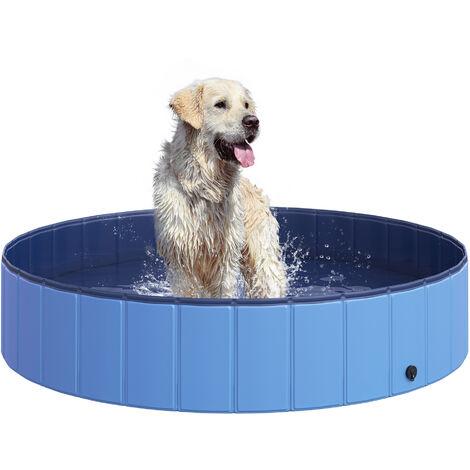 PawHut Piscina Pieghevole per Cani in PVC, Azzurro, Ø140x30cm