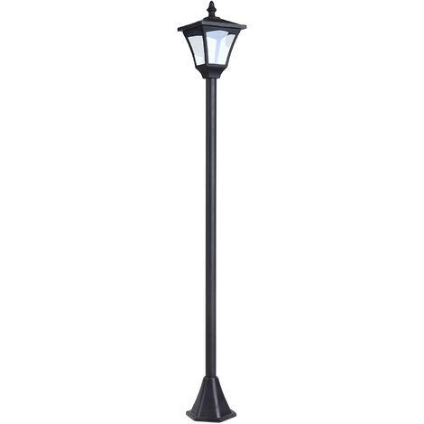 Outsunny Lampione da Giardino Led a Pannelli Solari, Nero, 120cm