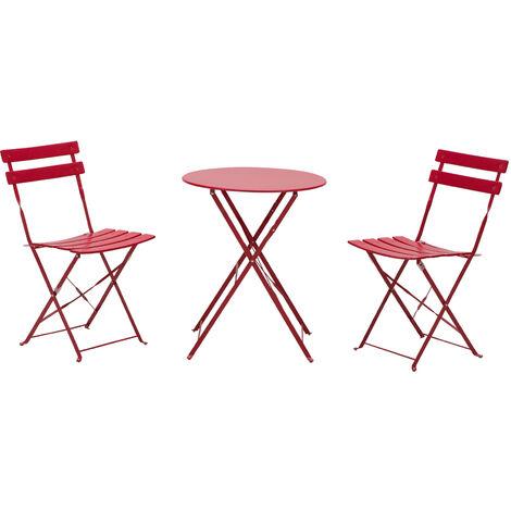 Outsunny Set da Esterno Tavolo Rotondo con 2 Sedie Pieghevoli in Acciaio Verniciato Rosso