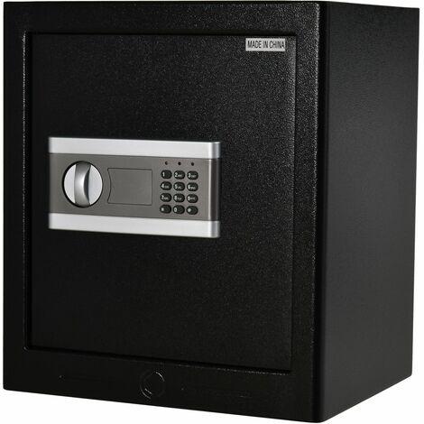 Homcom Cassaforte Elettronica in Acciaio Nero con Chiave e 2 Codici PIN 38L x 31P x 42.7Acm