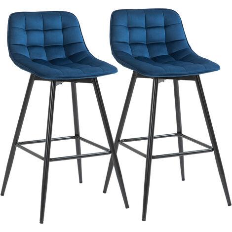 HOMCOM Set 2 Sgabelli da Bar Sedie Imbottite Stile Nordico Velluto Blu
