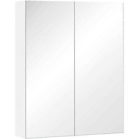Homcom Mobiletto Pensile da Bagno con 2 Ante e Specchiera in MDF Bianco 60 x 75 x 15cm