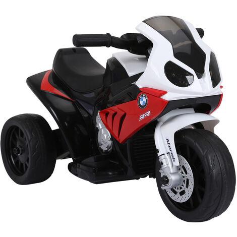 Homcom Moto Elettrica per Bambini BMW S1000RR Ufficiale, 3 Ruote con Luci e Suoni Realistici, Rosso