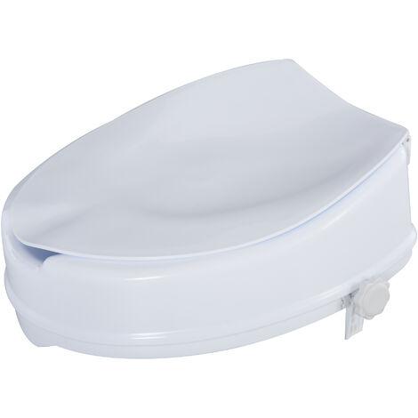 Homcom Rialzo per WC Larghezza 31-36cm con Coperchio e Sedile Alto 10cm per Anziani e Disabili