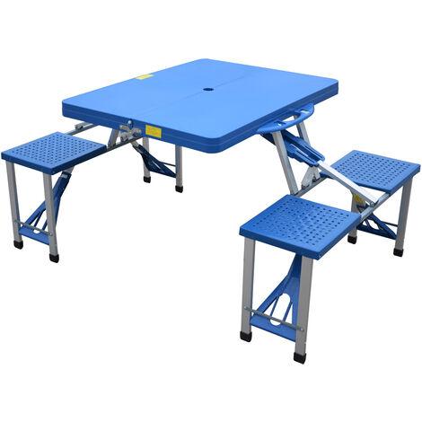 Outsunny Tavolino da campeggio pieghevole portatile in alluminio e plastica con 4 sedie, blu