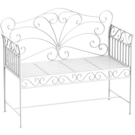 Outsunny Panchina Biposto da Giardino Stile Romantico in Ferro, Bianco, 109.5x51x95.5cm