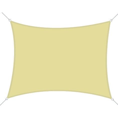 Outsunny Vela Ombreggiante Rettangolare Tenda da Sole in Poliestere 3x4m Sabbia