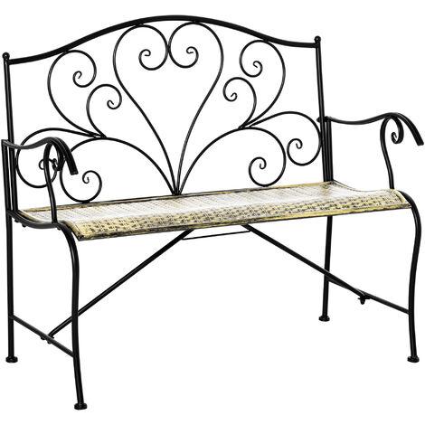 Outsunny Panchina da Giardino in Ferro, Panca da Esterno in Stile Vintage 2 Posti, 100x 50x88cm, Nero
