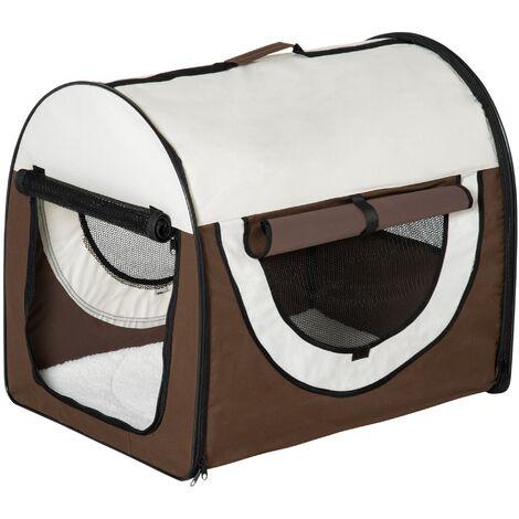 PawHut Trasportino per cani pieghevole, caffè, 70x51x59cm