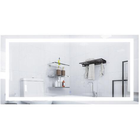 kleankin Specchio Bagno con Luce LED, Sistema Antiannebbiamento e Interruttore Touch, Vetro e Alluminio, 120x60x4cm