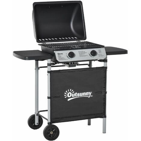 Outsunny Barbecue a Gas con Coperchio e 2 Bruciatori da 2.8kW, BBQ in Acciaio con Ruote e Mensole Nero