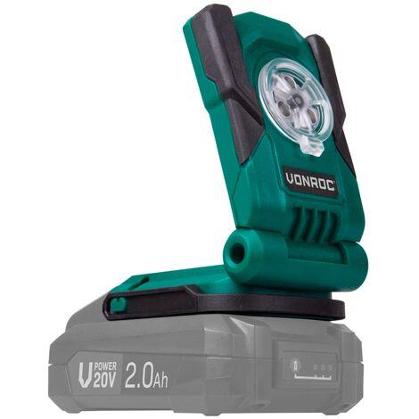 VONROC Torcia da lavoro a batteria VPOWER 20V. Dotata di 3 luci LED