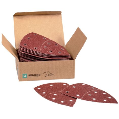 VONROC Set di 50 fogli di carta abrasiva per levigatrice palmare e delta. 100 x 150 mm. 5 diverse grane G40, G80, G120, G180, G240