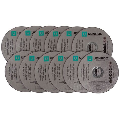 VONROC Set 12 dischi da taglio per smerigliatrici angolari 115mm