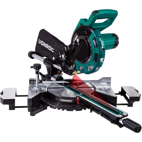 VONROC Troncatrice radiale 2000W, Ø 216mm, laser e LED integrati. Include lama con 40 denti e 2 estensioni da tavolo