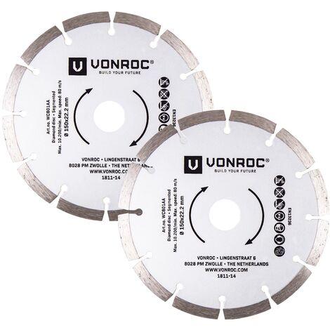 VONROC Set di 2 lame diamantate 150mm universali per scanalatore e smerigliatrice angolare. Per tagliare cemento, mattoni, pietre, piastrelle, ceramica e tegole