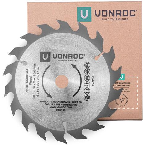VONROC Lama per sega circolare, 150 x 16 x 2,0/1,1 mm, 18 denti, per legno, universale